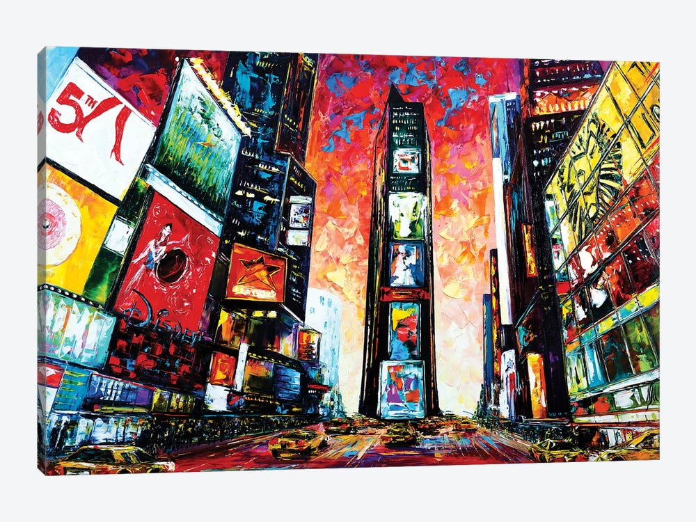 Times Square. The World Crossroads. by Natasha Mylius 1-piece Canvas Print