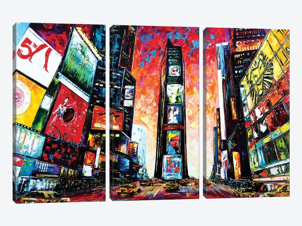 Times Square. The World Crossroads. by Natasha Mylius 3-piece Canvas Print