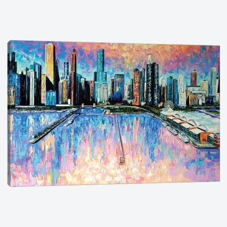 Chicago Skyline Canvas Print #NMY96} by Natasha Mylius Canvas Wall Art
