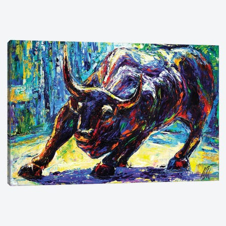 Charging Bull Canvas Print #NMY9} by Natasha Mylius Art Print
