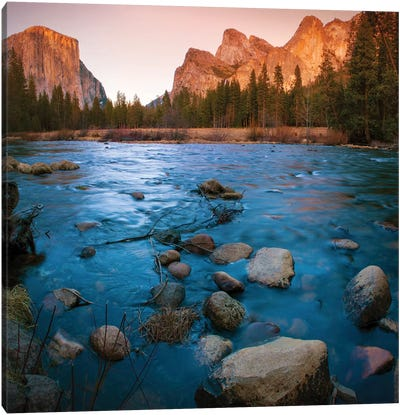 Yosemite Valley As Seen From The Bank Of The Merced River, Yosemite National Park, California, USA Canvas Art Print