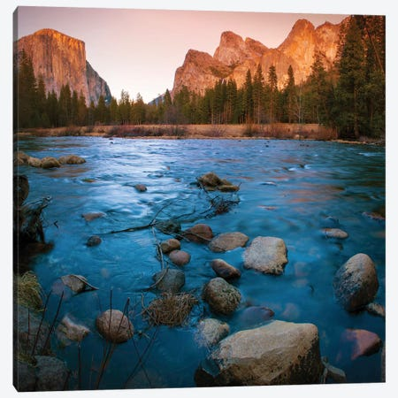 Yosemite Valley As Seen From The Bank Of The Merced River, Yosemite National Park, California, USA Canvas Print #NNA1} by Anna Miller Canvas Art Print
