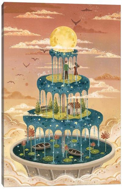 Moonlit Fountain Canvas Art Print