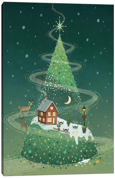 Night In A Christmas Tree Canvas Art Print