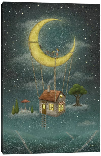 Travel With The Moon Canvas Art Print