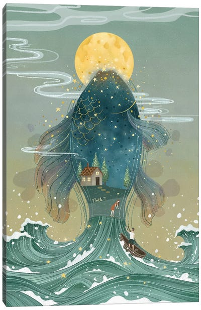 Waves Under The Moon Canvas Art Print