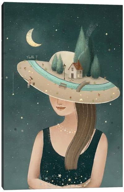 Alone In The Moonlight Canvas Art Print