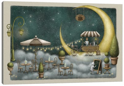 Cafe By The Moon Canvas Art Print
