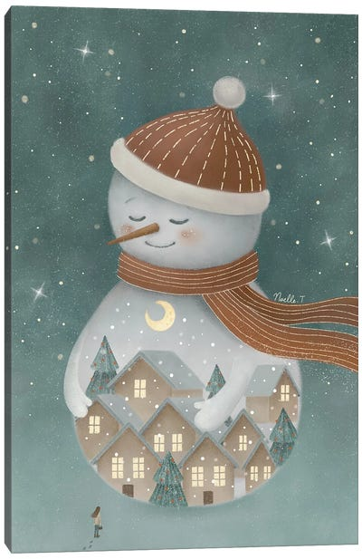 Christmas Snowman. Canvas Art Print