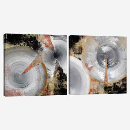 Circle Abstract Diptych Canvas Print Set #NOH2HSET001} by NOAH Canvas Artwork
