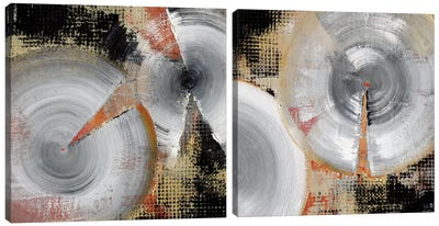 Circle Abstract Diptych Canvas Art Print