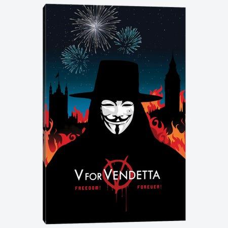 V For Vendetta Movie Art Canvas Print #NOJ105} by 2Toastdesign Canvas Wall Art