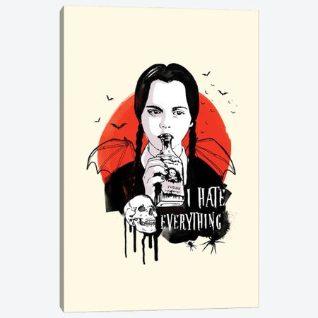 Wednesday Addams Art Canvas Print #NOJ109} by 2Toastdesign Art Print