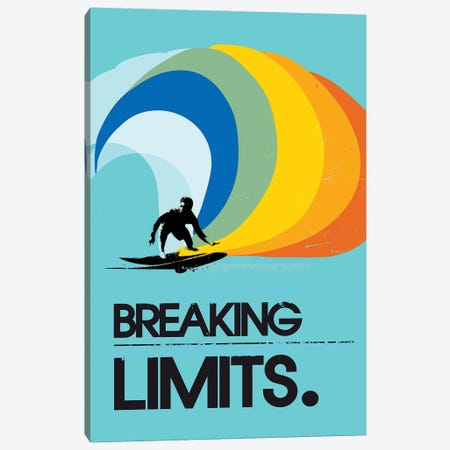 Breaking Limits Surf Art Canvas Print #NOJ16} by 2Toastdesign Canvas Artwork