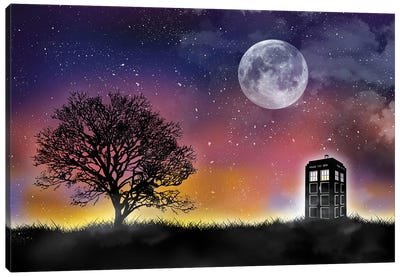 Tardis Night Landscape Canvas Art Print