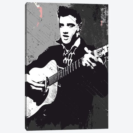 Elvis Presley Bw Art Canvas Print #NOJ30} by 2Toastdesign Art Print