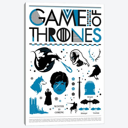 Game Of Thrones Art Canvas Print #NOJ41} by 2Toastdesign Canvas Artwork
