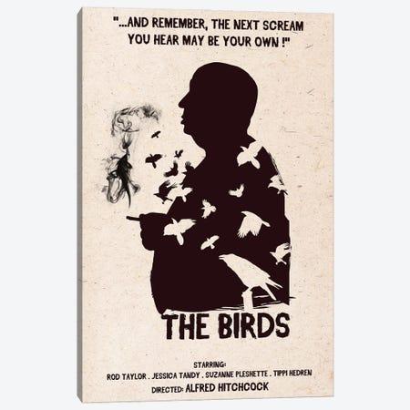 Hitchcock The Birds Movie Art Canvas Print #NOJ54} by 2Toastdesign Canvas Art