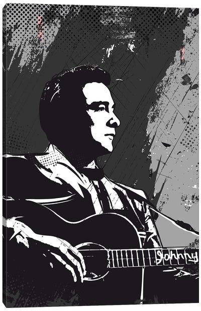 Johnny Cash Bw Art Canvas Art Print