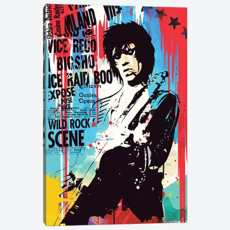 Keith Richards Pop Art Canvas Print #NOJ82} by 2Toastdesign Canvas Artwork