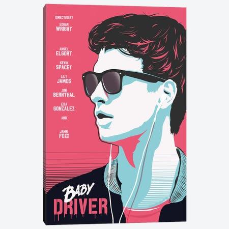 Baby Driver Movie Art Canvas Print #NOJ8} by 2Toastdesign Canvas Art Print
