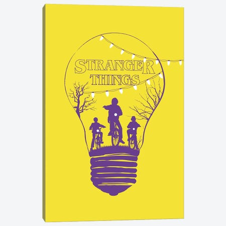 Stranger Things Yellow Art Canvas Print #NOJ92} by 2Toastdesign Art Print