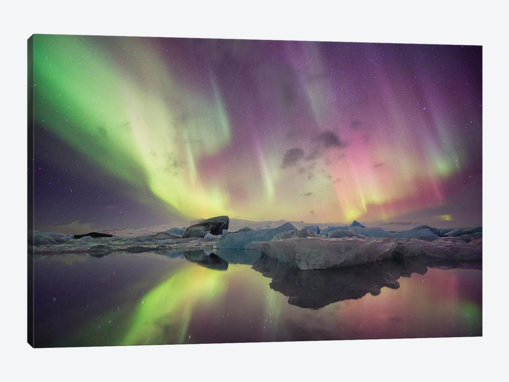 Aurora Borealis, Jokulsarlon, Vatnajokull National Park by Josh Anon 1-piece Canvas Art Print