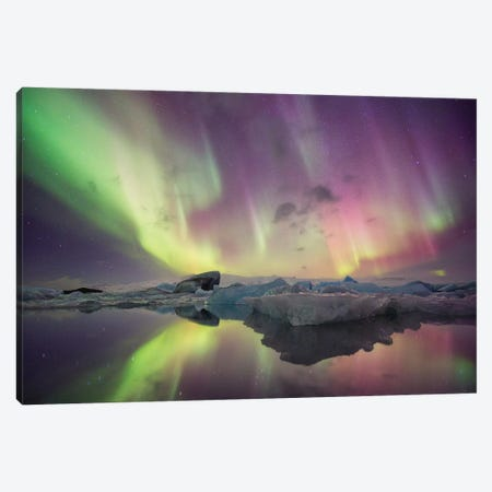 Aurora Borealis, Jokulsarlon, Vatnajokull National Park 3-Piece Canvas #NON1} by Josh Anon Canvas Print