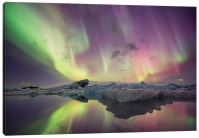 Aurora Borealis, Jokulsarlon, Vatnajokull National Park Canvas Art Print