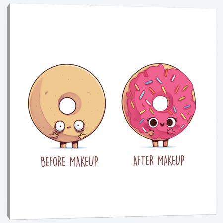 Before After Makeup - Donut Canvas Print #NOO8} by Naolito Canvas Art