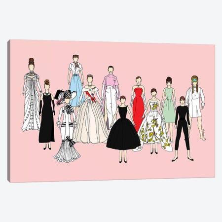 Audrey Think Pink Canvas Print #NOT11} by Notsniw Art Art Print