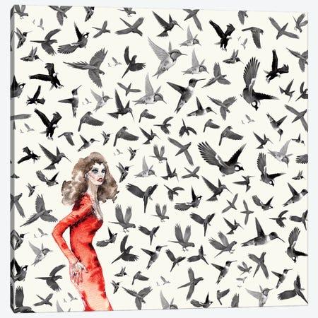 Barcelona Summer Bird Lady Canvas Print #NOT12} by Notsniw Art Canvas Print