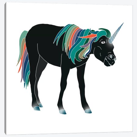 Black Unicorn Canvas Print #NOT13} by Notsniw Art Canvas Art Print