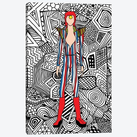 Bowie Fashion III Canvas Print #NOT15} by Notsniw Art Canvas Artwork
