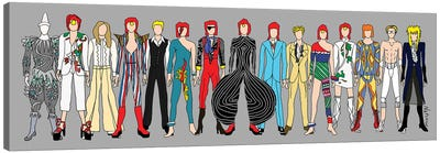 Bowie Line Up Canvas Art Print