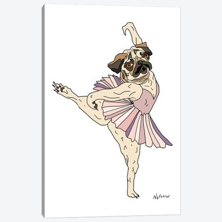 Dog Ballerina Tutu, Pug Canvas Print #NOT19} by Notsniw Art Art Print