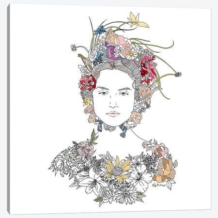 Floral Girl Canvas Print #NOT20} by Notsniw Art Canvas Wall Art