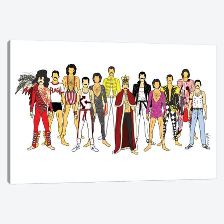Freddie Mercury Line-Up Canvas Print #NOT21} by Notsniw Art Canvas Artwork