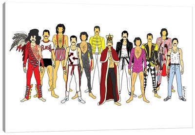 Freddie Mercury Line-Up Canvas Art Print