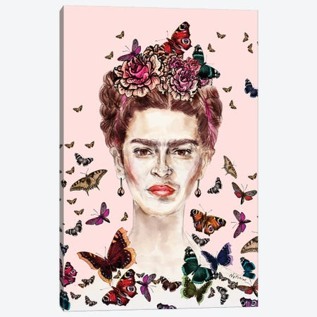 Frida Kahlo Flowers Butterflies Canvas Print #NOT22} by Notsniw Art Canvas Wall Art