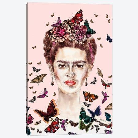 Frida Kahlo Flowers Butterflies Canvas Print #NOT22} by Notsniw Art Canvas Wall Art