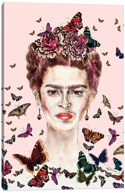 Frida Kahlo Flowers Butterflies Canvas Art Print