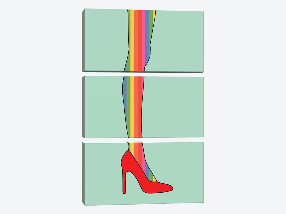Give A Girl The Right Shoes And She Can Conquer The World by Notsniw Art 3-piece Canvas Artwork