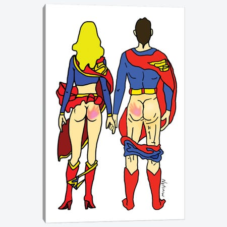 Hero Butt Lovers Are Super Canvas Print #NOT26} by Notsniw Art Art Print