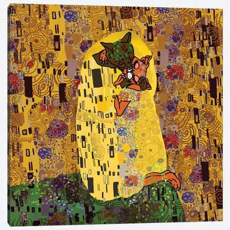 "Klimt's ""Feline Kiss"" Canvas Print #NOT28} by Notsniw Art Canvas Wall Art"