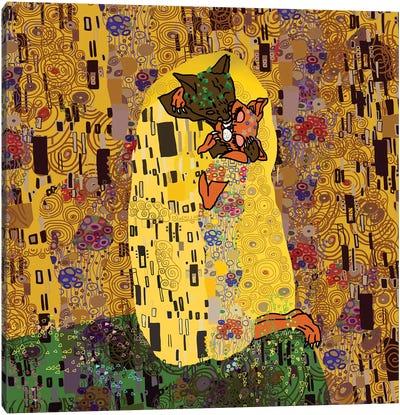 """Klimt's """"Feline Kiss"""" Canvas Art Print"""