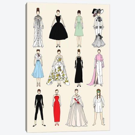 The Many Outfits Of Audrey 3-Piece Canvas #NOT37} by Notsniw Art Canvas Wall Art