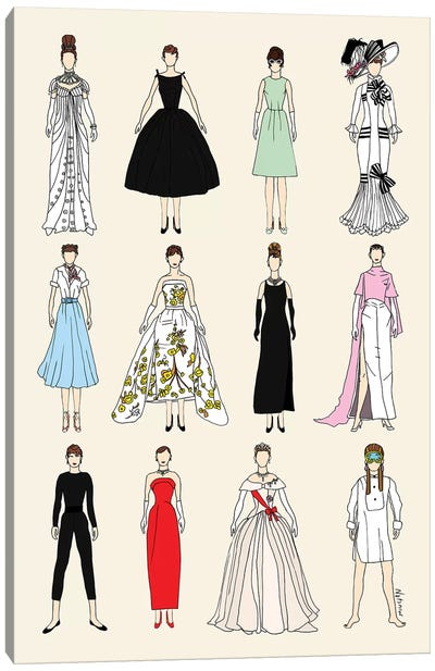 The Many Outfits Of Audrey Canvas Art Print
