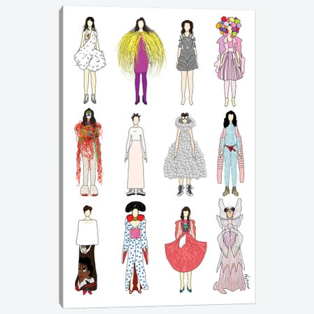 The Many Outfits Of Bjork Canvas Print #NOT38} by Notsniw Art Canvas Art Print