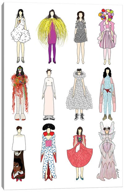 The Many Outfits Of Bjork Canvas Art Print